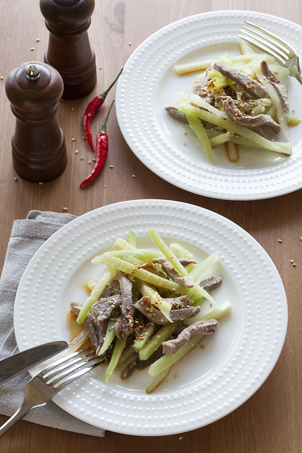 Beef tongue with cucumbers